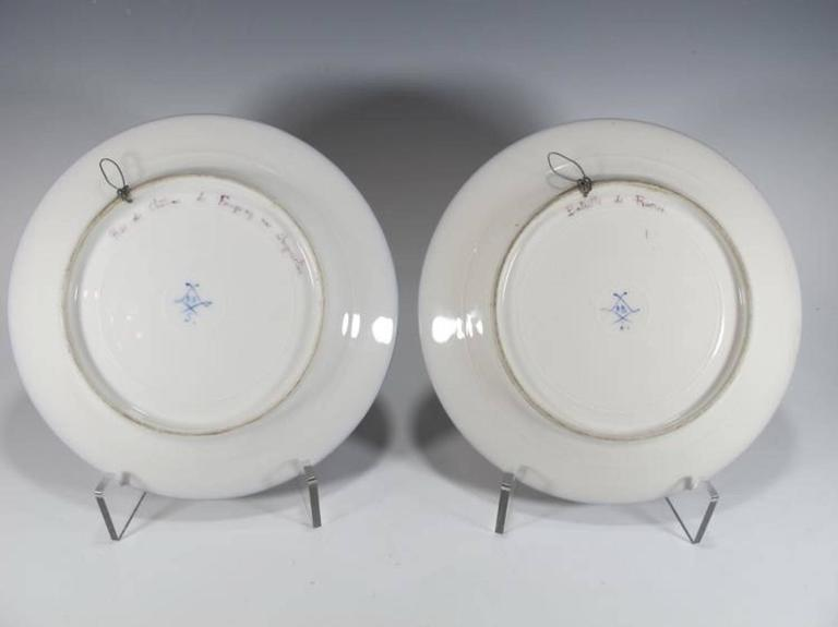 19th Century Antique French Sevres Pair of Porcelain Plates For Sale 2