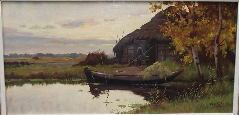 Waterscape with boat, building and fisherman by Maurits de Groot (Netherlands, 1880-1934). Oil on canvas.