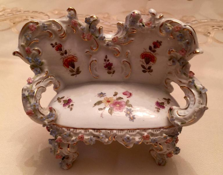 19th Century Collection of Meissen Miniatures with Applied Floral Work Six Pieces For Sale