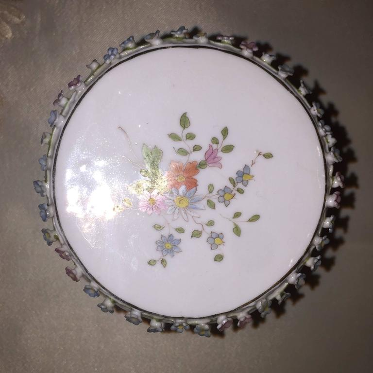 Porcelain Collection of Meissen Miniatures with Applied Floral Work Six Pieces For Sale