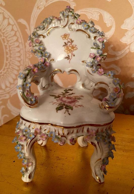 Collection of Meissen Miniatures with Applied Floral Work Six Pieces For Sale 1