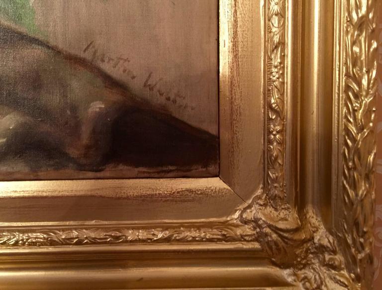 Martha Walter (Philadelphie 1875-1976 Gloucester Massachusetts)  Bouquet de glaïeuls sur un entablement  Grande huile sur toile  Signé Martha Walter en bas à droite  Dimensions: 80 x 65 cm  Notes: Peintures, Art Impressioniste et
