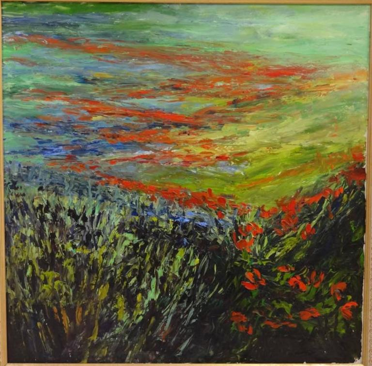 Alexander Kirk impressionist painting of a poppy field. Oil on canvas. Measures: 36