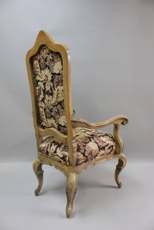 Six Country French Tapestry And Wood Captain S Chairs At