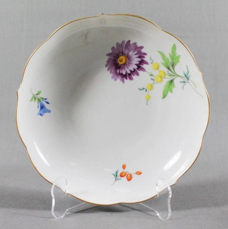 19th century Meissen cup and saucer white with flowers and gold rim  Cup measures H: 2 1/2