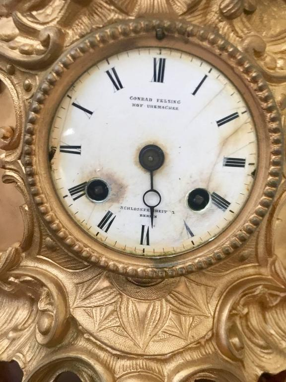 Late 19th Century Victorian Gilt Metal Mantle Clock Signed