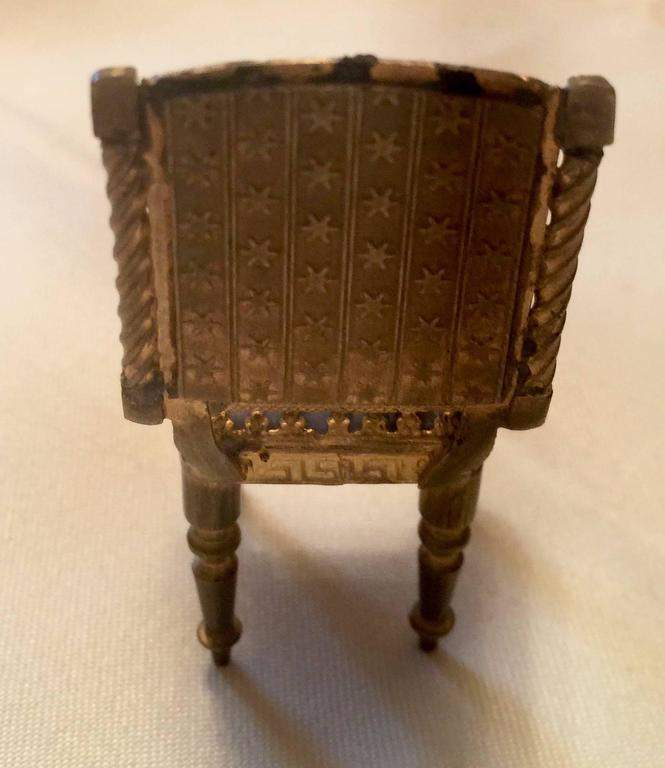 Austrian 19th Century Viennese Enamel and Bronze Miniature Chair For Sale