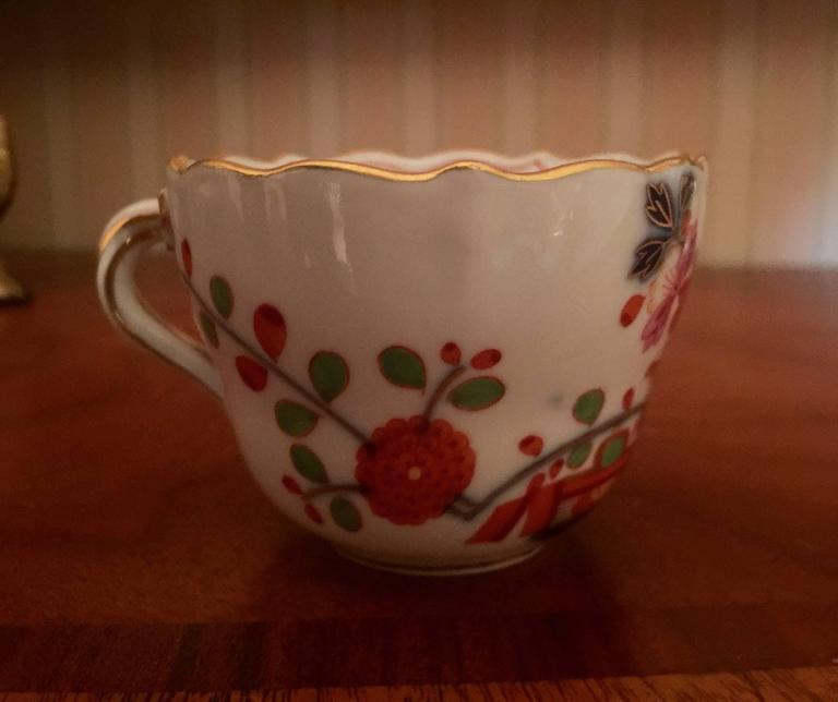 19th Century Vintage Meissen Demitasse Cup and Saucer For Sale