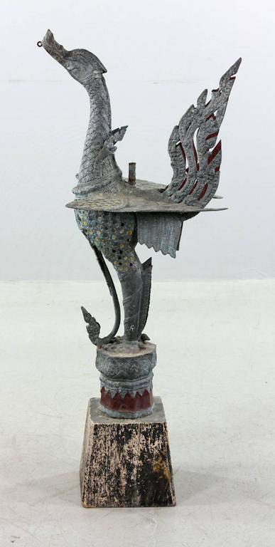 Antique Indonesian Bronze Bird In Good Condition For Sale In Washington Crossing, PA