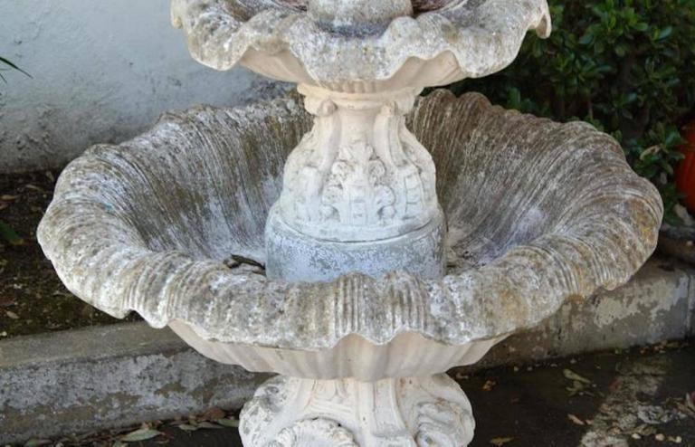20th Century Concrete Vintage Garden Fountain.
