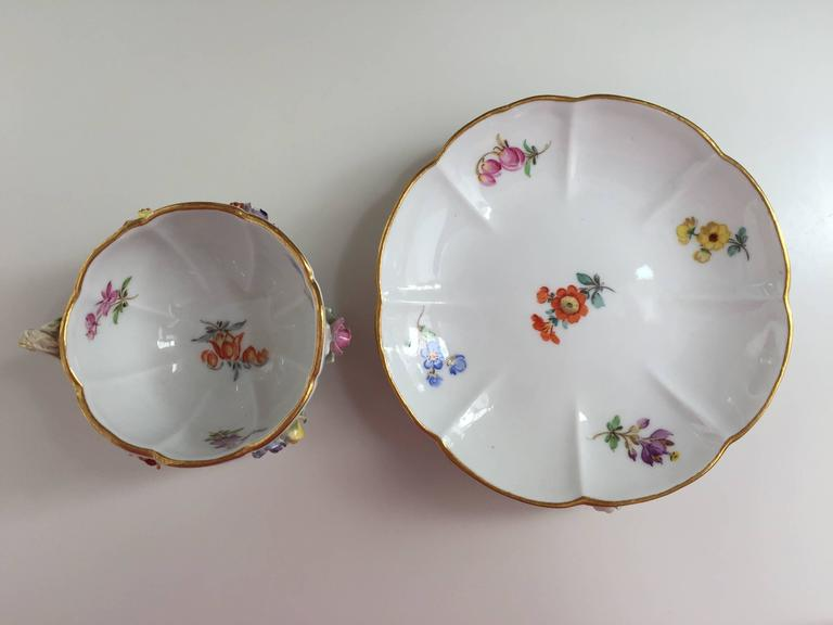 Porcelain 19th Century Meissen Cup and Saucer For Sale