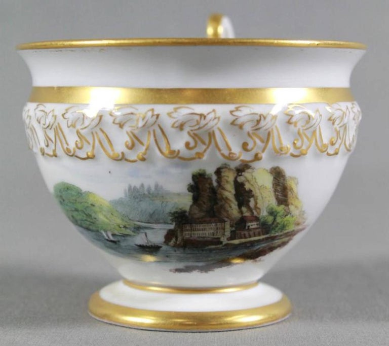 Gilt 19th Century Meissen Cup and Saucer For Sale