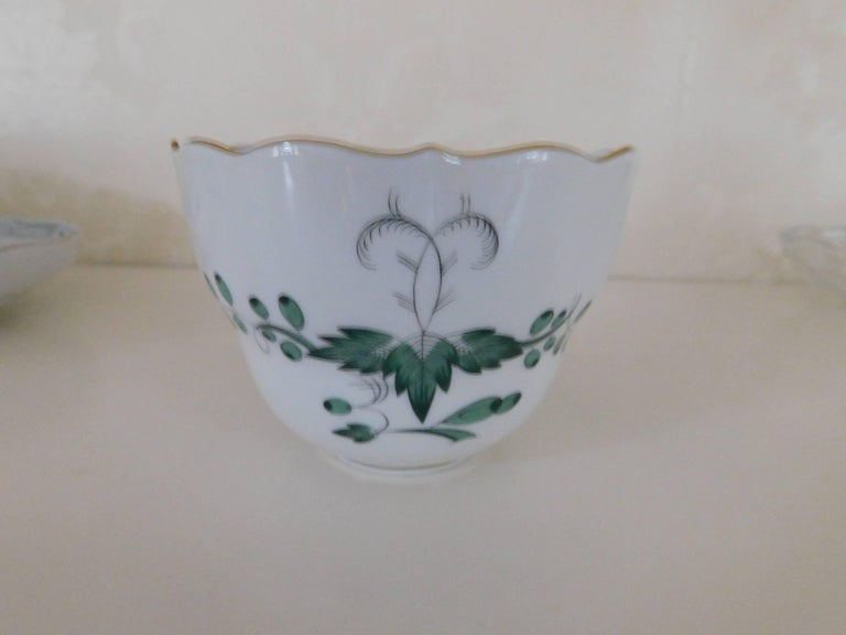 Meissen Porcelain Green Indian Flowers Large Cup and Saucer, 20th Century For Sale 2