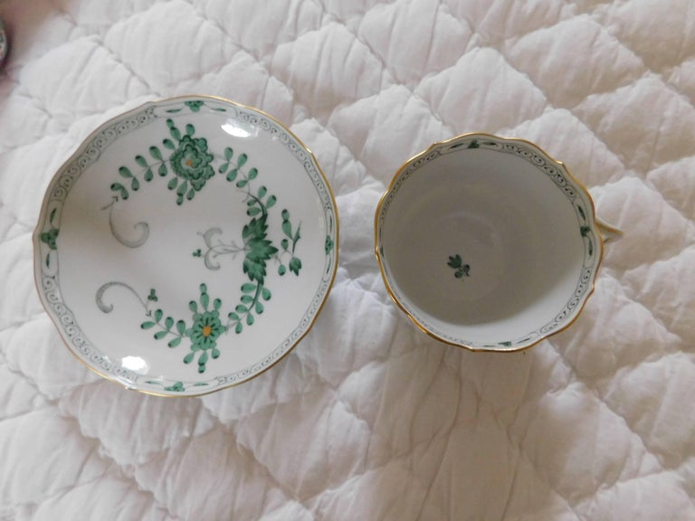 Meissen Porcelain Green Indian Flowers Large Cup and Saucer, 20th Century For Sale 3
