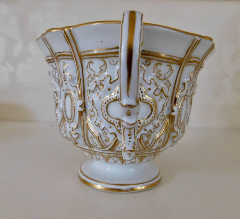 Early 20th Century Meissen Porcelain Heavy Gold Trim Embossed Cup and Saucer In Excellent Condition In Washington Crossing, PA