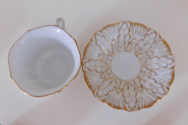 Early 20th Century Meissen Porcelain Heavy Gold Trim Embossed Cup and Saucer 1