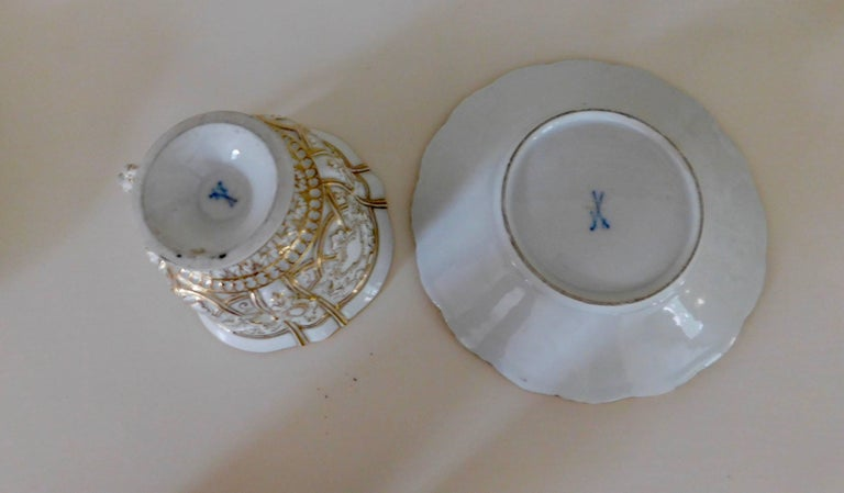 Early 20th Century Meissen Porcelain Heavy Gold Trim Embossed Cup and Saucer 2