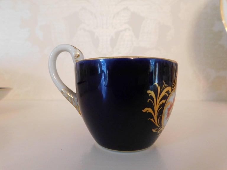 German Meissen Porcelain Cobalt Blue and Floral Cup and Saucer For Sale