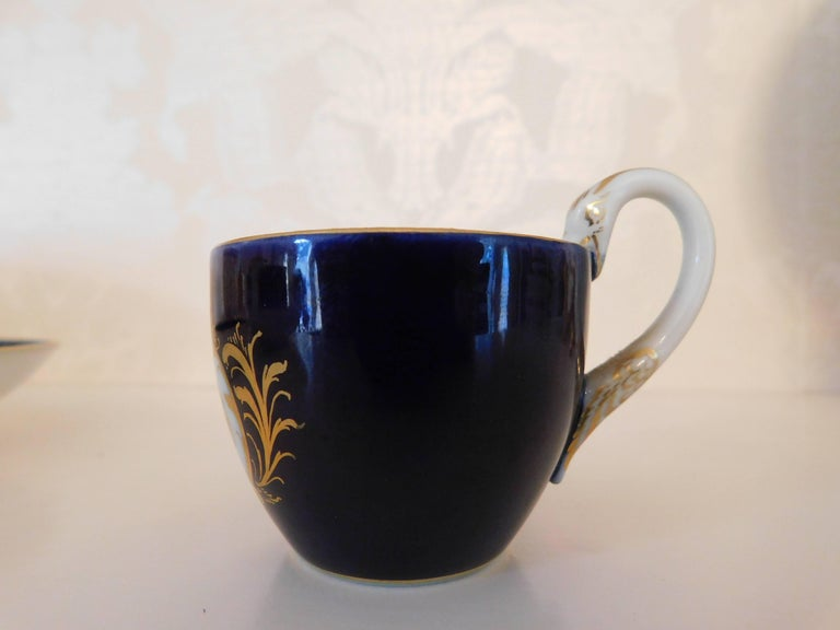 20th Century Meissen Porcelain Cobalt Blue and Floral Cup and Saucer For Sale
