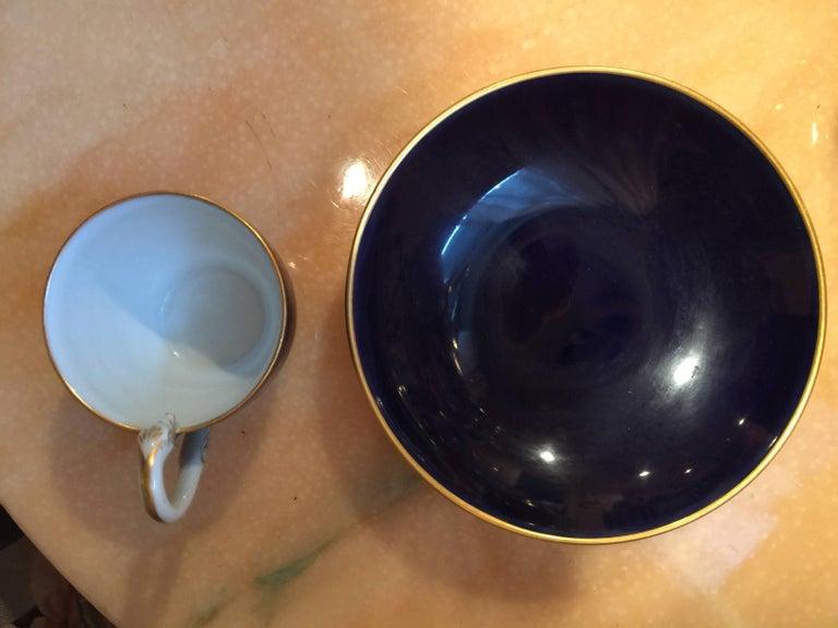 Meissen Porcelain Cobalt Blue and Floral Cup and Saucer For Sale 1