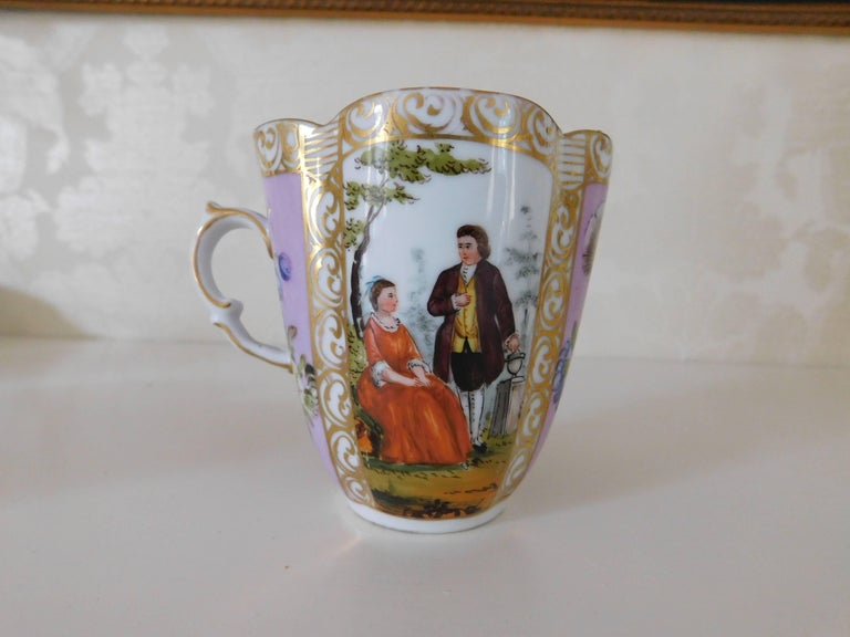 19th century Helena Wolfsohn porcelain cup and saucer Measurements in inches: Cup 3.75 W x 2.63 D x 3.25 H Saucer 5.75 W x 5 D x 1.5 H.