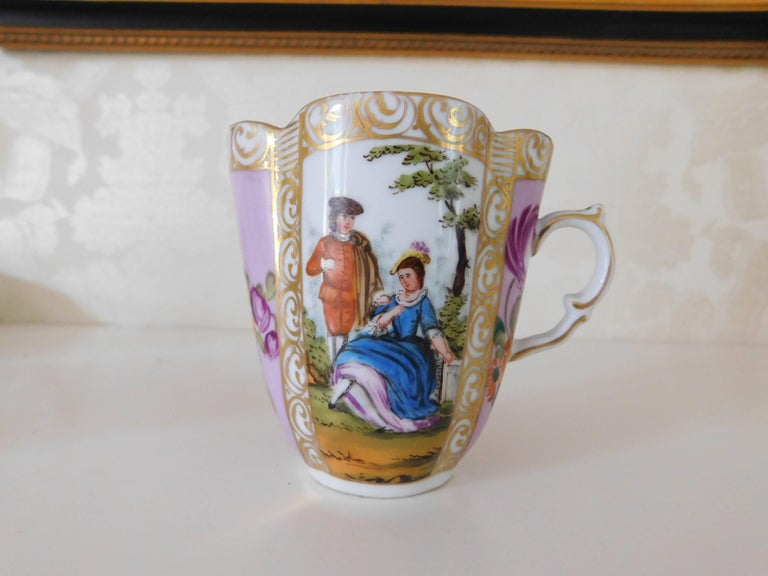 Gilt 19th Century Helena Wolfsohn Porcelain Cup and Saucer For Sale
