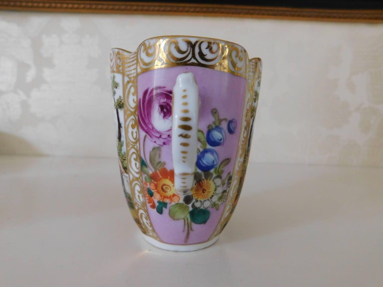 19th Century Helena Wolfsohn Porcelain Cup and Saucer In Excellent Condition For Sale In Washington Crossing, PA