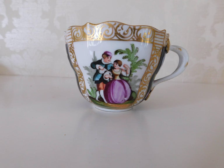 German 19th Century Meissen Porcelain Cup and Saucer, circa 1850 For Sale