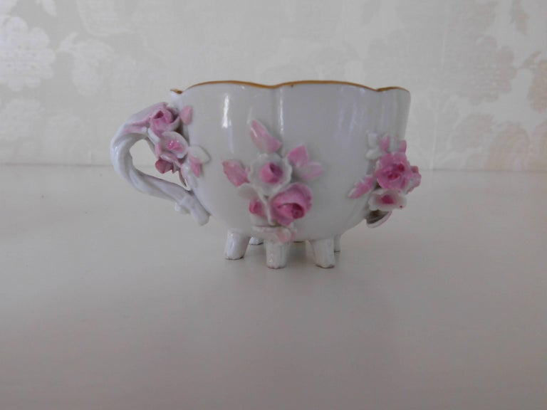 German 19th Century Meissen Porcelain Floral Teacup and Saucer For Sale