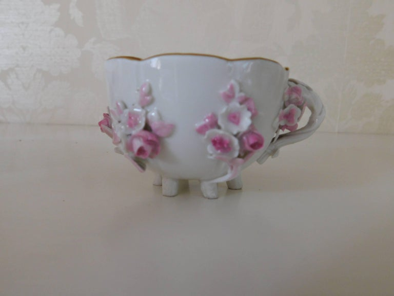 19th Century Meissen Porcelain Floral Teacup and Saucer In Excellent Condition For Sale In Washington Crossing, PA