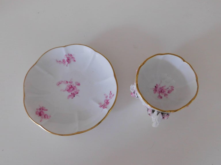 19th Century Meissen Porcelain Floral Teacup and Saucer For Sale 2