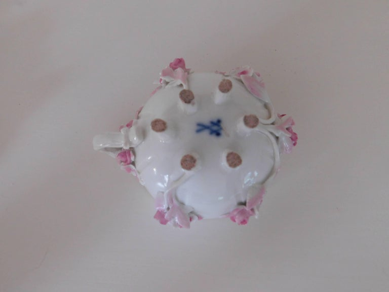 19th Century Meissen Porcelain Floral Teacup and Saucer For Sale 4