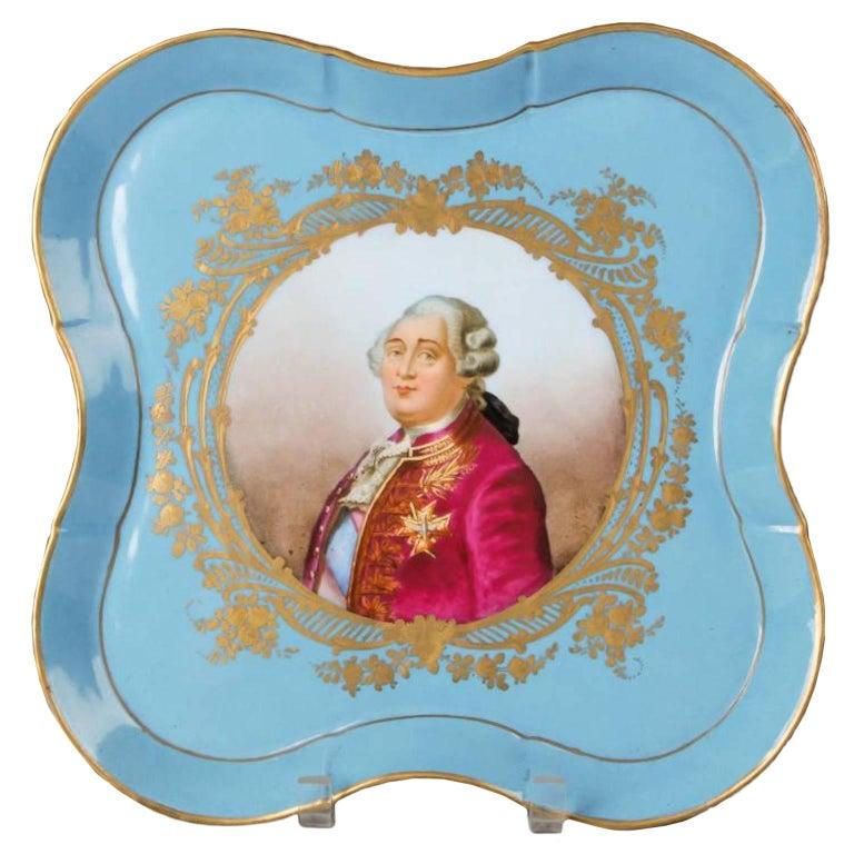 Antique Sèvres Louis XVI Hand-Painted Porcelain Tray Platter For Sale