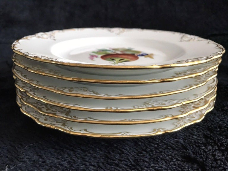 Set of Six Antique Meissen Porcelain Floral Cabinet Plates Marcaloni Period In Good Condition For Sale In Washington Crossing, PA