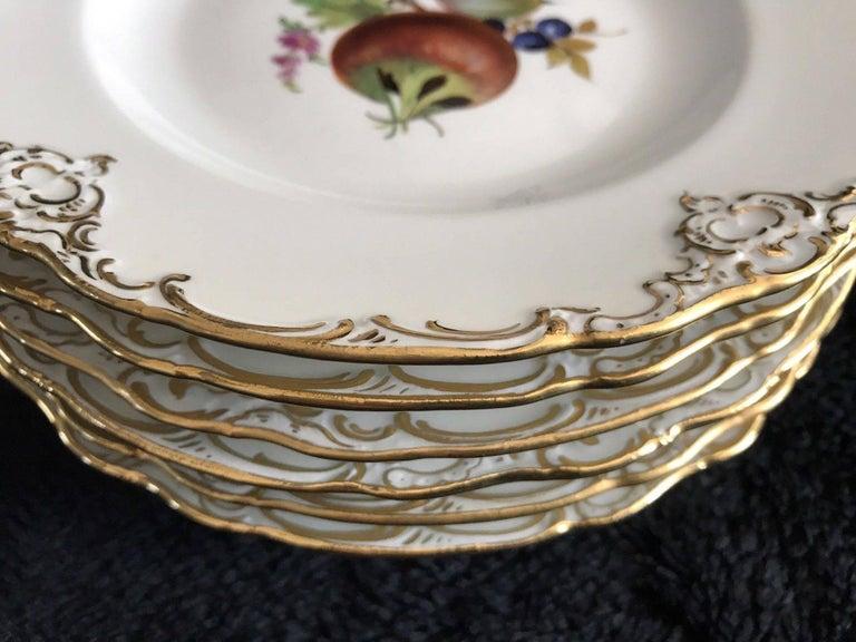 18th Century Set of Six Antique Meissen Porcelain Floral Cabinet Plates Marcaloni Period For Sale
