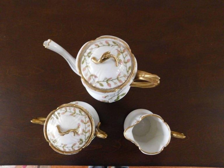 Early 19th Century Limoges Porcelain French Coffee Set Hand-Painted In Excellent Condition For Sale In Washington Crossing, PA