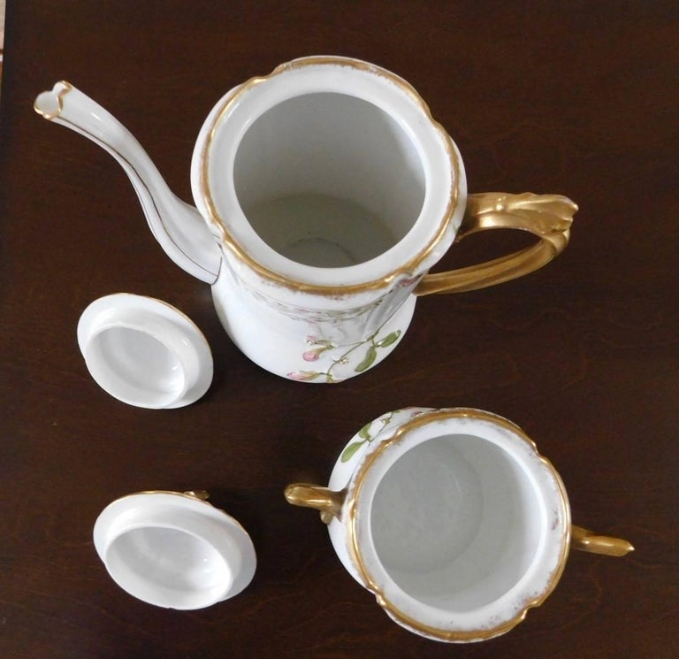 Early 19th Century Limoges Porcelain French Coffee Set Hand-Painted For Sale 3