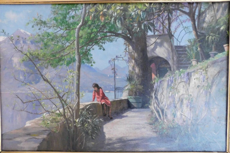 Peder Monsted (1851-1941) summer day in Varenna, oil on canvas, dated 1921 Signed P. Monsted.