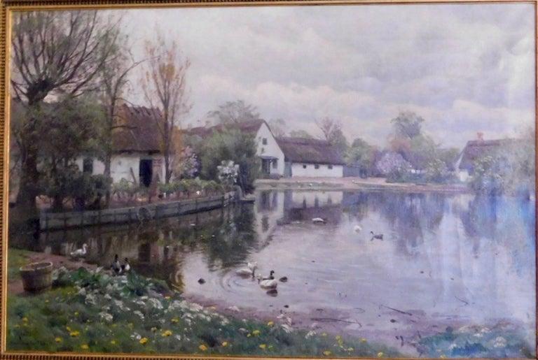 Peder Monsted, village pond in Herstedvester, signed and dated 1923.