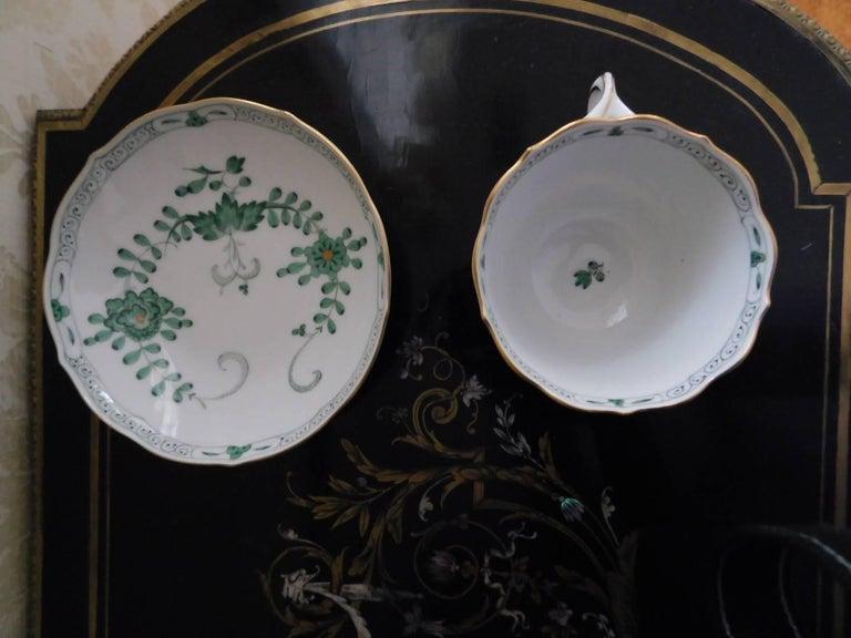 Meissen porcelain green dragon cup and saucer Saucer measures 5.5 diameter.