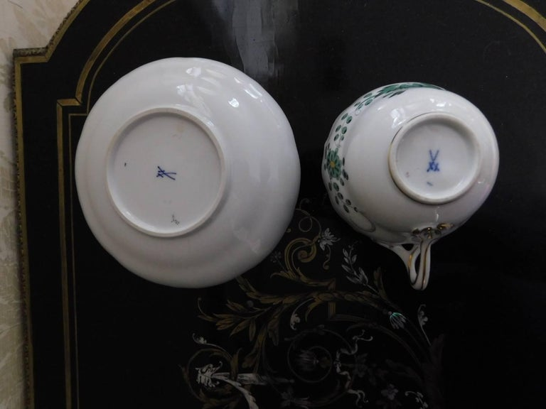 German Meissen Green Dragon Demitasse Cup and Saucer For Sale