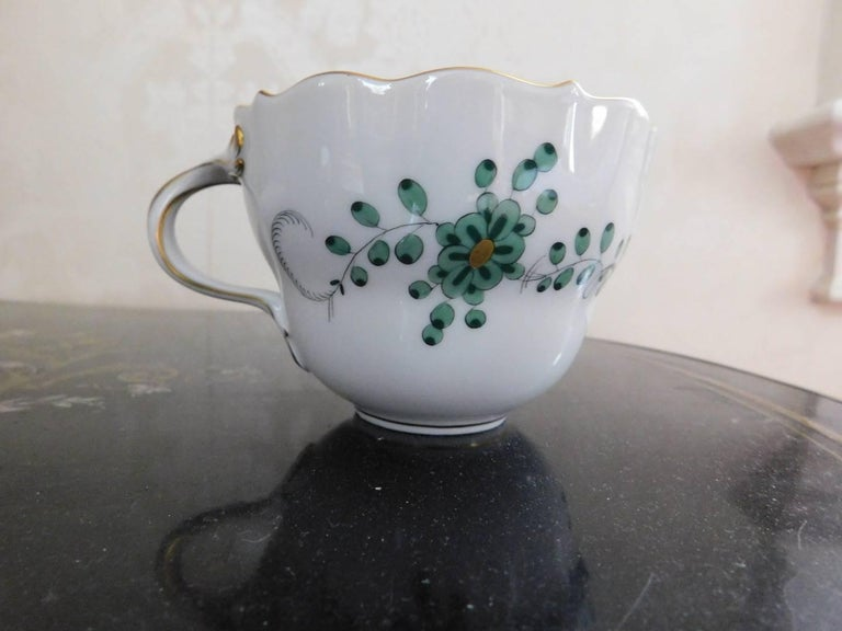 Porcelain Meissen Green Dragon Demitasse Cup and Saucer For Sale