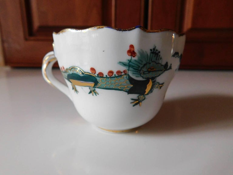Meissen Porcelain Green Dragon Cup and Saucer In Good Condition For Sale In Washington Crossing, PA
