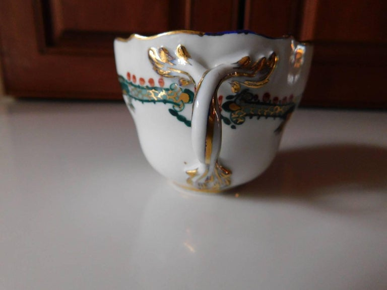 19th Century Meissen Porcelain Green Dragon Cup and Saucer For Sale