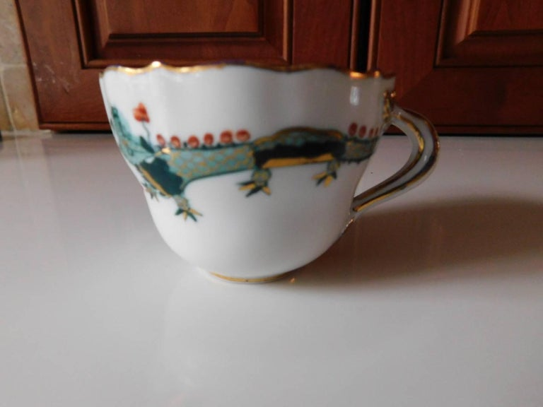 Meissen Porcelain Green Dragon Cup and Saucer For Sale 1