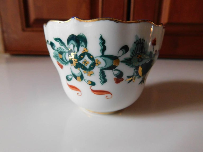 Meissen Porcelain Green Dragon Cup and Saucer For Sale 2