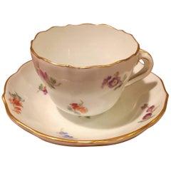 19th Century Vintage German Meissen Demitasse Cup and Saucer