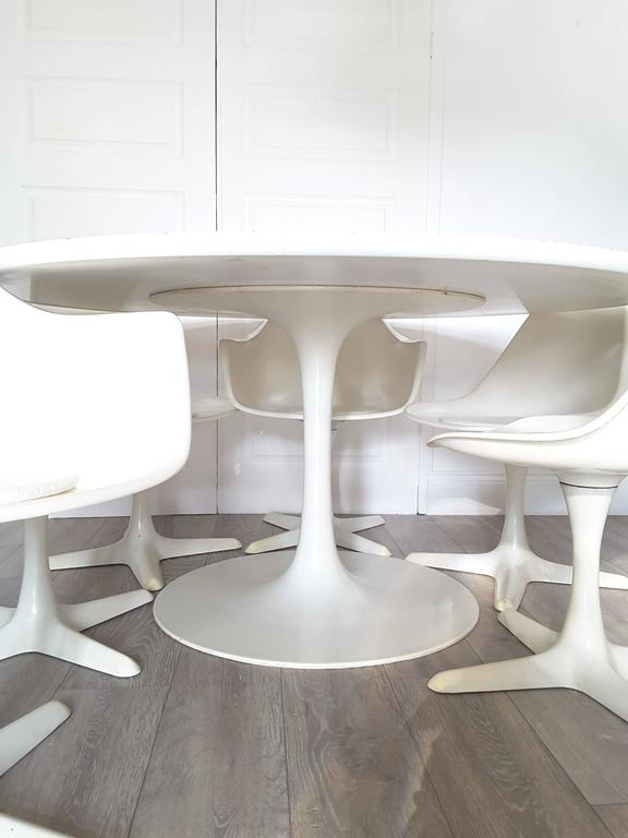 Large Arkana Mid Century Modern Round Dining Table And