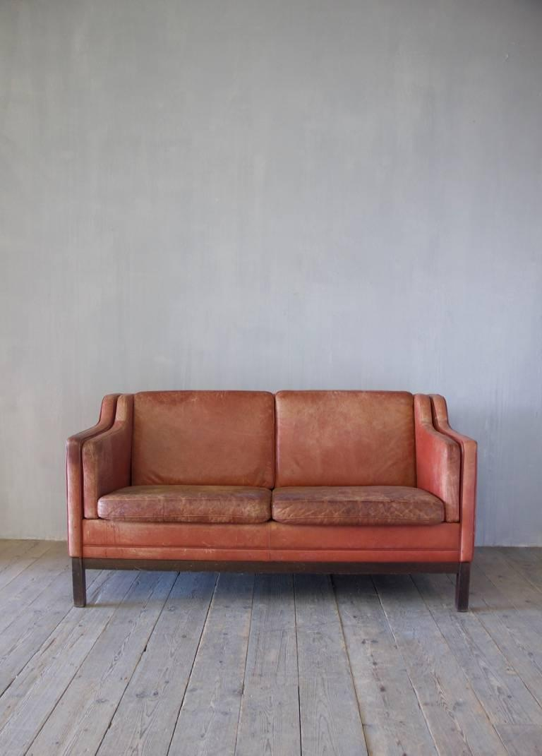 Midcentury Leather Sofa For Sale 1