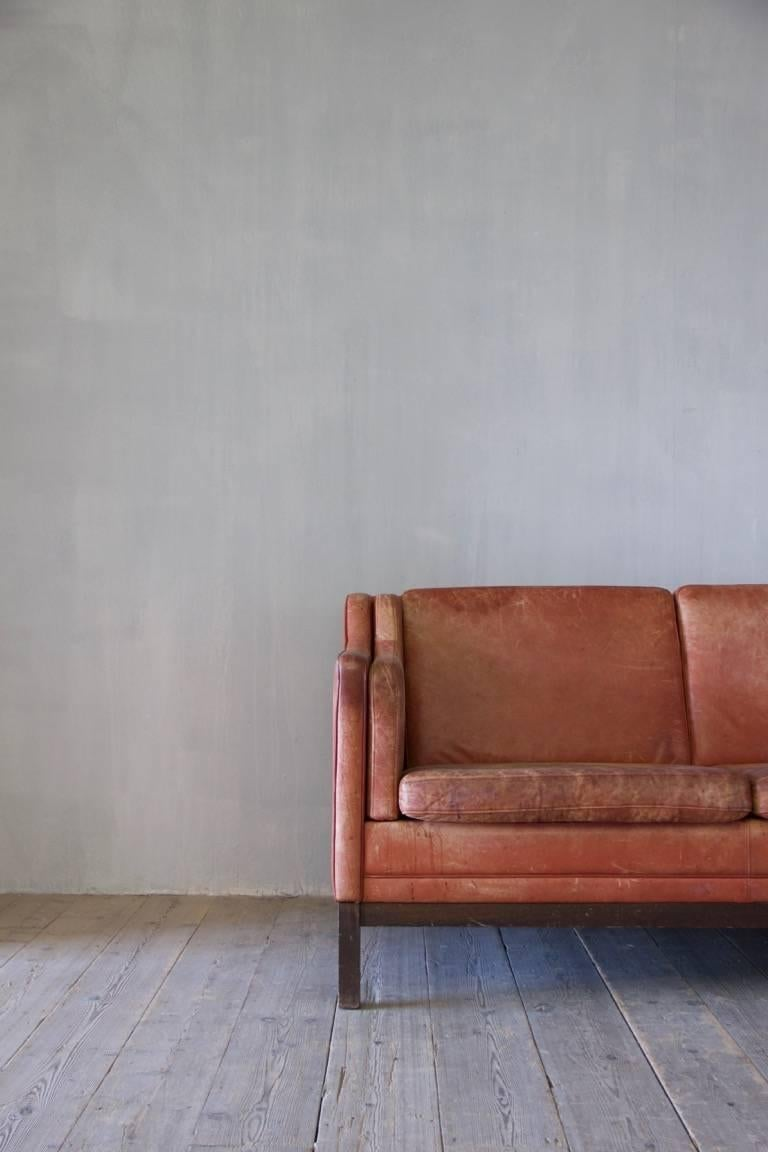 Mid-20th Century Midcentury Leather Sofa For Sale
